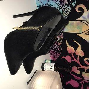 Black faux suede stilettos